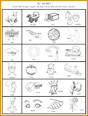A dozen FREE rhyming words worksheets from PrintableKidStuff 493372