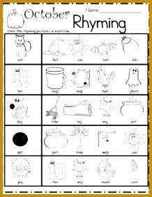 Halloween Rhyming Worksheet – Free literacy building page for Kindergarten and Preschool Use this worksheet as 283218