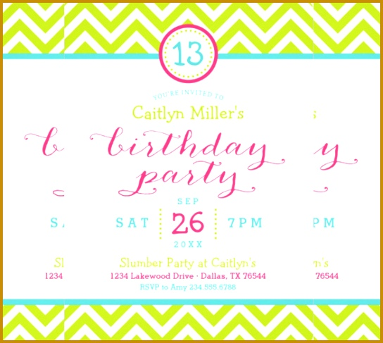 Trendy Zigzag Chevron teenage Birthday Party Invitation 487544