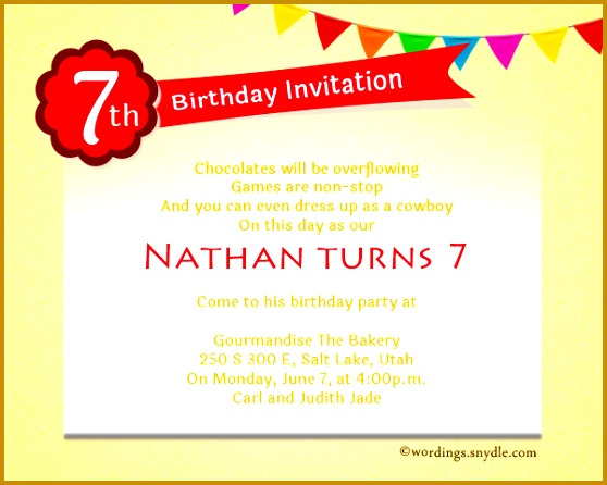 7th Birthday Invitation Letter Sample 446558