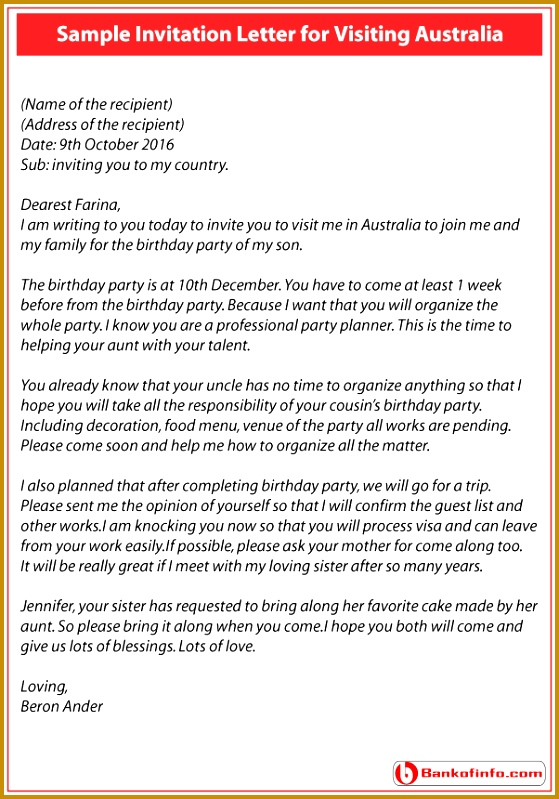Invitation Letter for Visiting Australia 799559