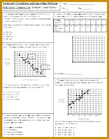 Scatter plot Correlation and Line of Best Fit Exam Mrs Math freebie 280219