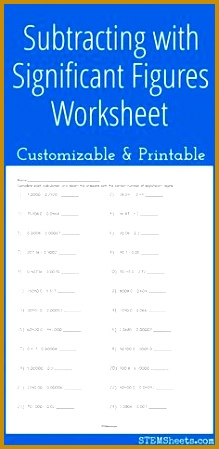 Subtracting with Significant Figures Worksheet Customizable and Printable 449219