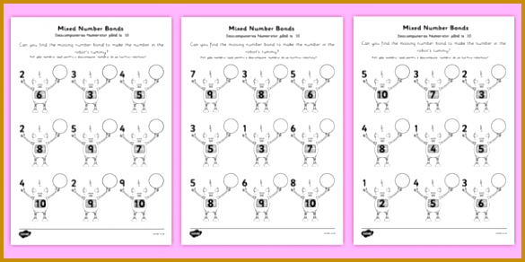 Mixed Number Bonds to 10 on Robots Worksheet Romanian Translation romanian number bonds 292585