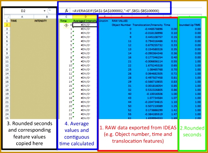 A screen shot of the EXCEL worksheet and associated formulae used to enter exported feature values such as time MagF4 intensity within the ERTR defined 664487