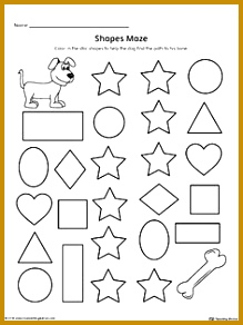 Practice recognizing the Star geometric shape by pleting the maze in this printable worksheet 292219