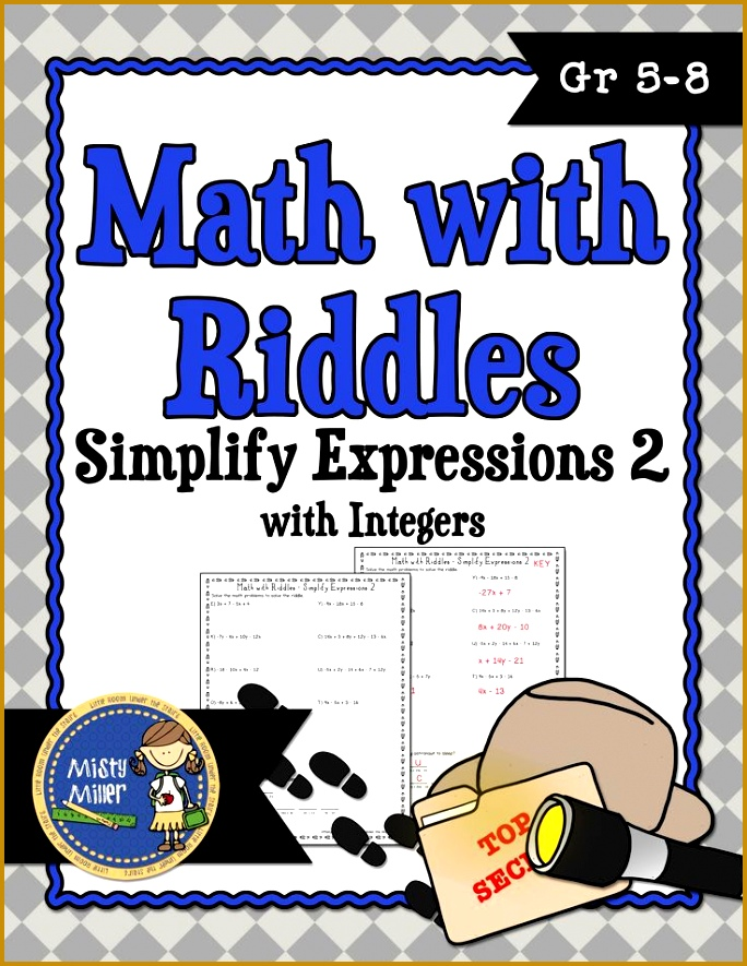 Simplify Algebraic Expressions 2 Math with Riddles 885684