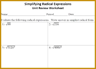 Simplifying Radical Expressions Unit Review Worksheet 235325