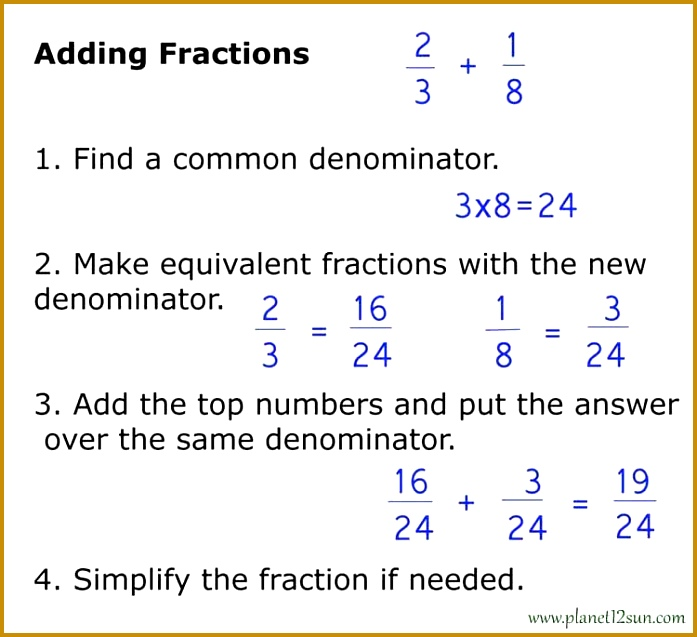Make equivalent fractions with the new denominator 3 Subtract the top numbers numerators and put the answer over the same denominator 637697