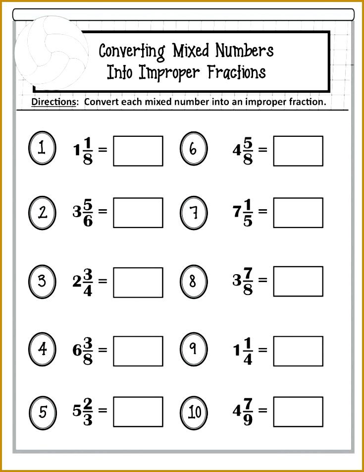Mixed And Improper Fractions Worksheets Kindergarten Convert Fraction Cool Worksheet Number Numbers With Pictu 952735