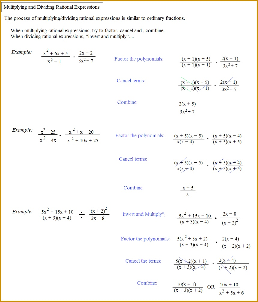 Simplifying Rational Expressions Worksheet With Answers Free 1003859