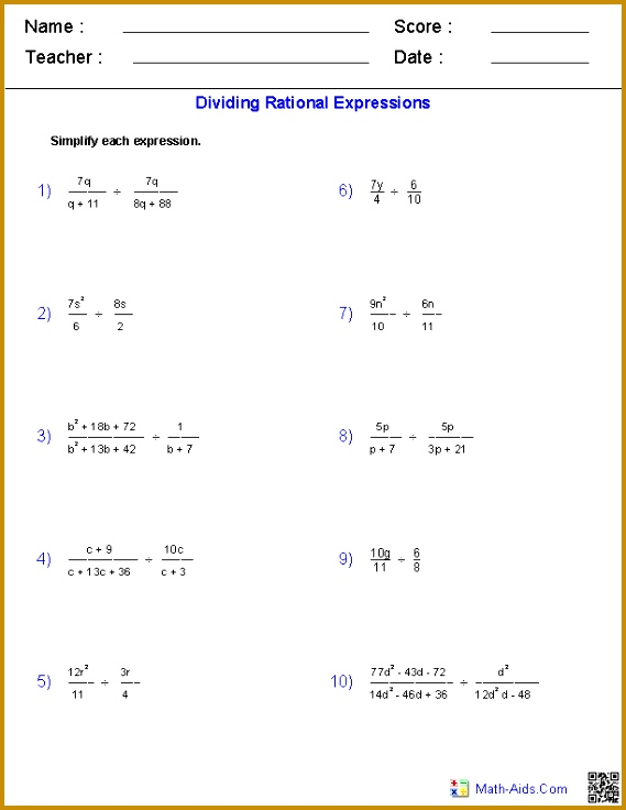 These Algebra 1 Worksheets allow you to produce unlimited numbers of dynamically created rational expressions worksheets 736569