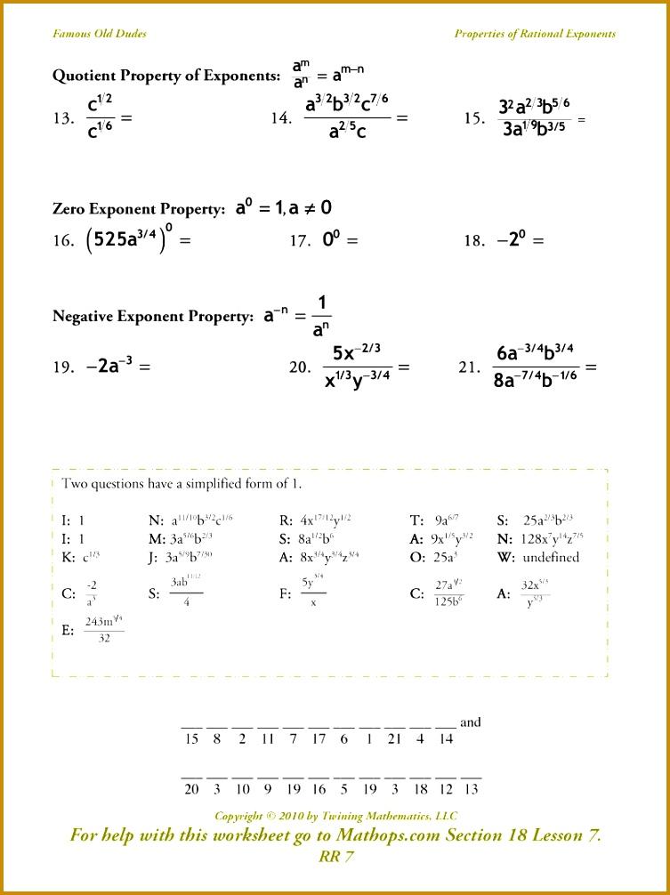 Radical Exponents Worksheet 1006753
