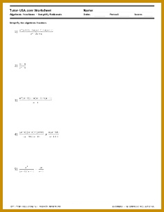 Algebraic Equations Simplify Rational Expressions Worksheet 306237