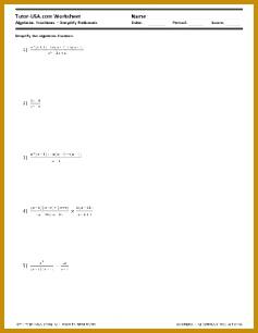 Algebraic Equations Simplify Rational Expressions Worksheet 306237