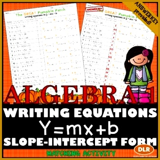 Thanksgiving Algebra Writing Slope Intercept Form given Any Equation 325325