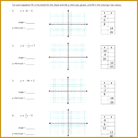 Eighth Grade – Linear Functions Inequalities and Graphing – Graphing Slope Intercept Form – WKS 558558