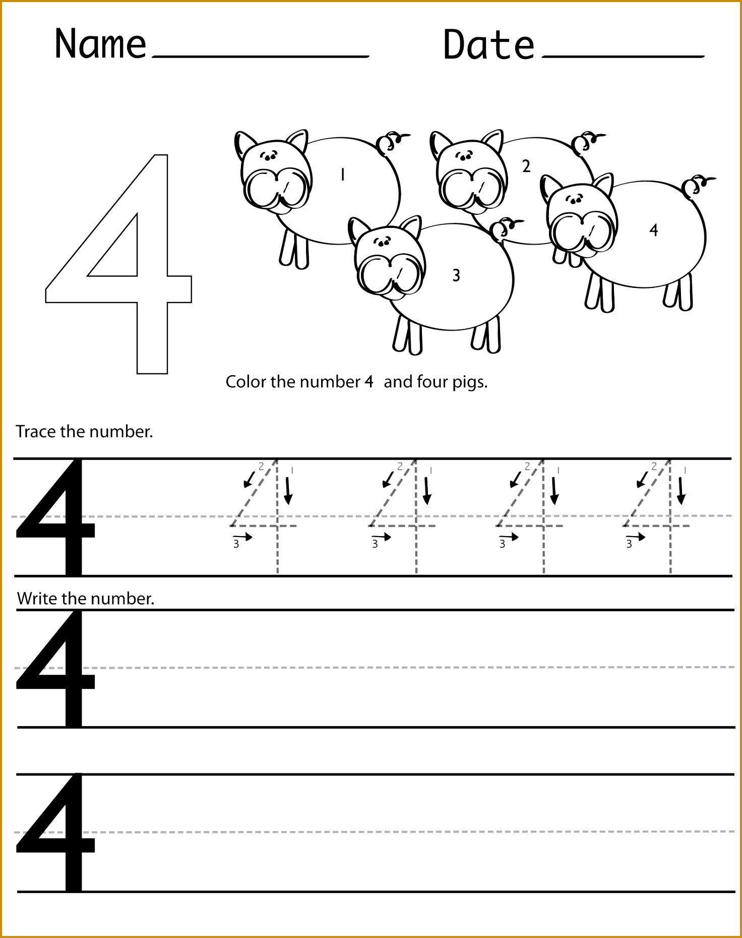 Number 4 Worksheets For Children 18601472