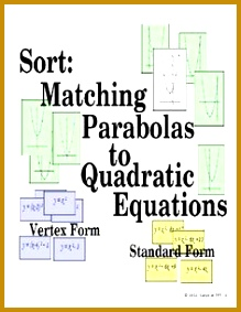 Matching Graphs of Parabola with Quadratic Equations Review Activity 283219