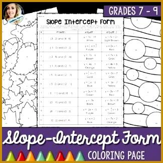 Slope Intercept Form Coloring Activity 325325