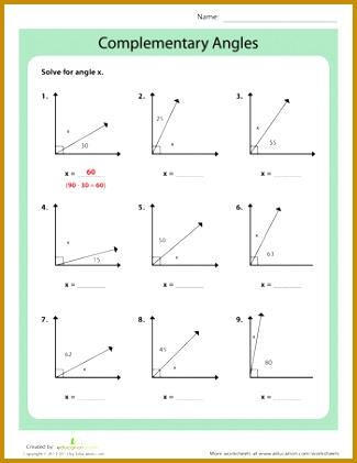 Worksheets plementary Angles 421325