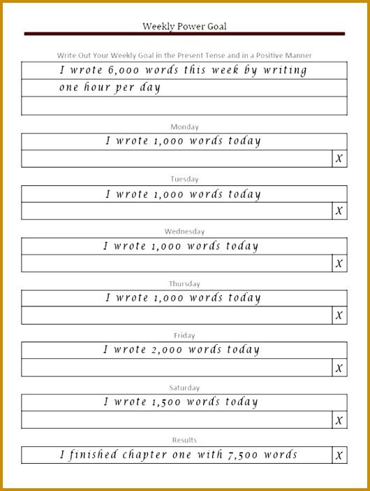 Weekly Goal Setting Worksheet 530702