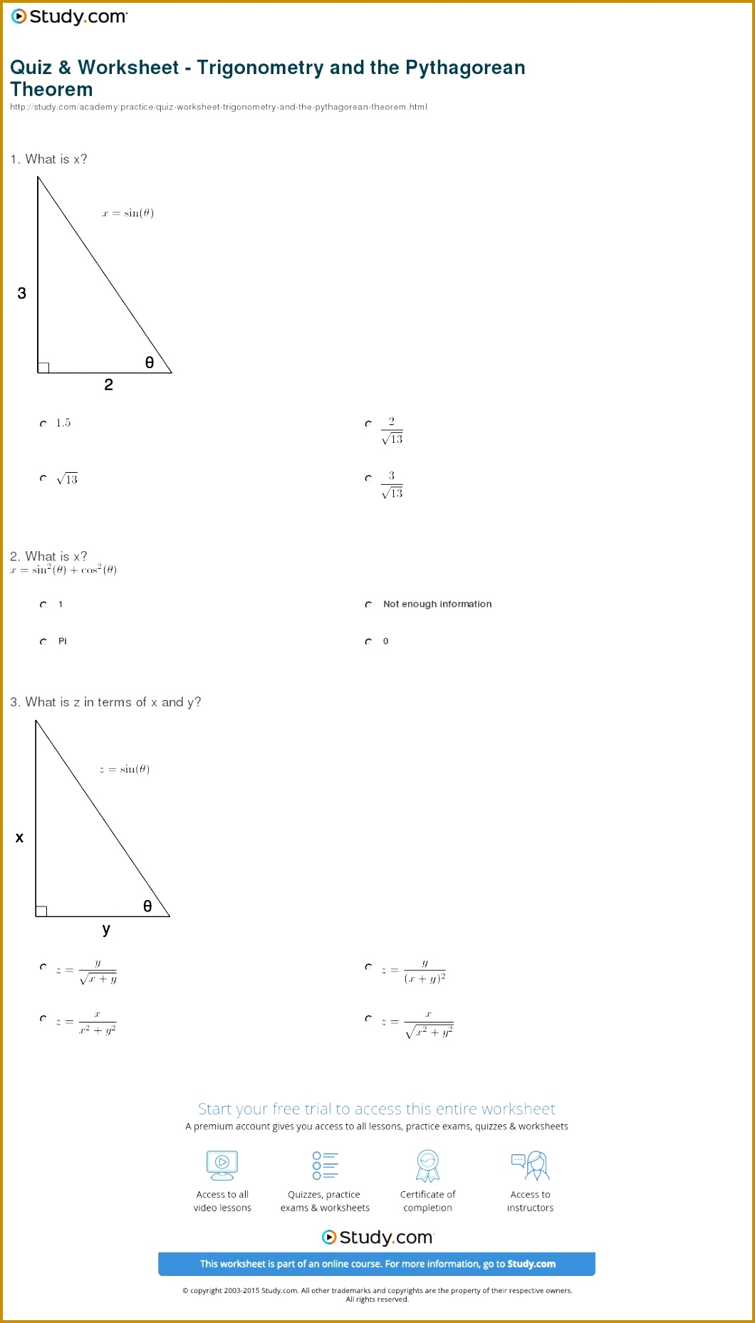 Sohcahtoa Worksheet 77350 Trigonometric Ratios Chief