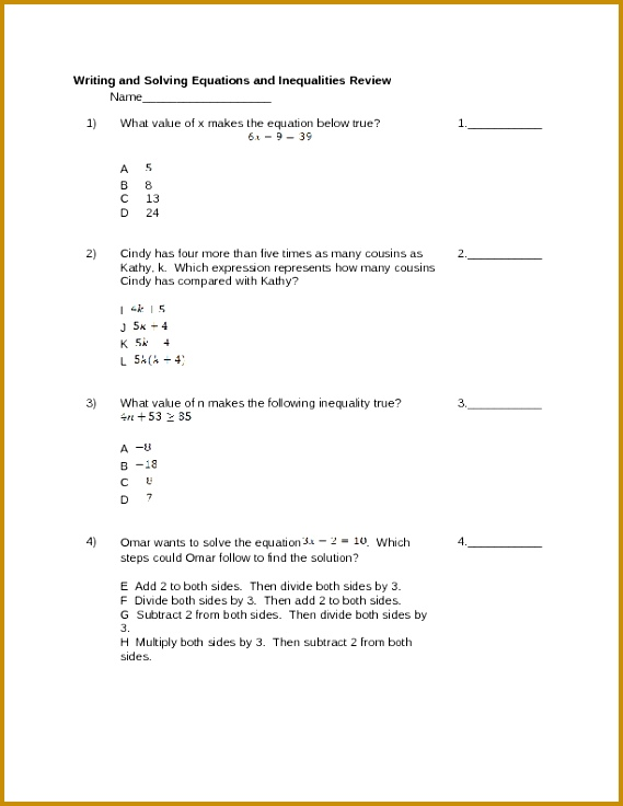 Writing And Solving Equations Worksheet 736569
