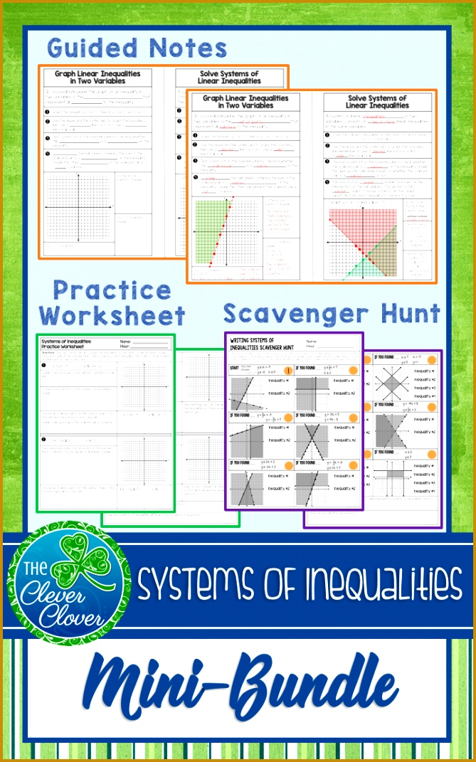Guided notes worksheets and a self checking scavenger hunt on systems of inequalities 1071669
