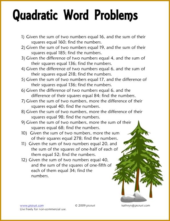 Word Problems With Quadratic Equations Worksheet Tessshlo 595770