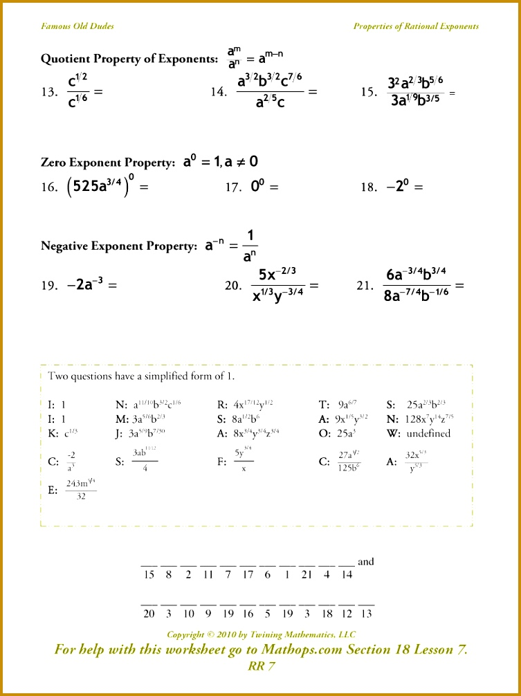 Radical Exponents Worksheet 1006753