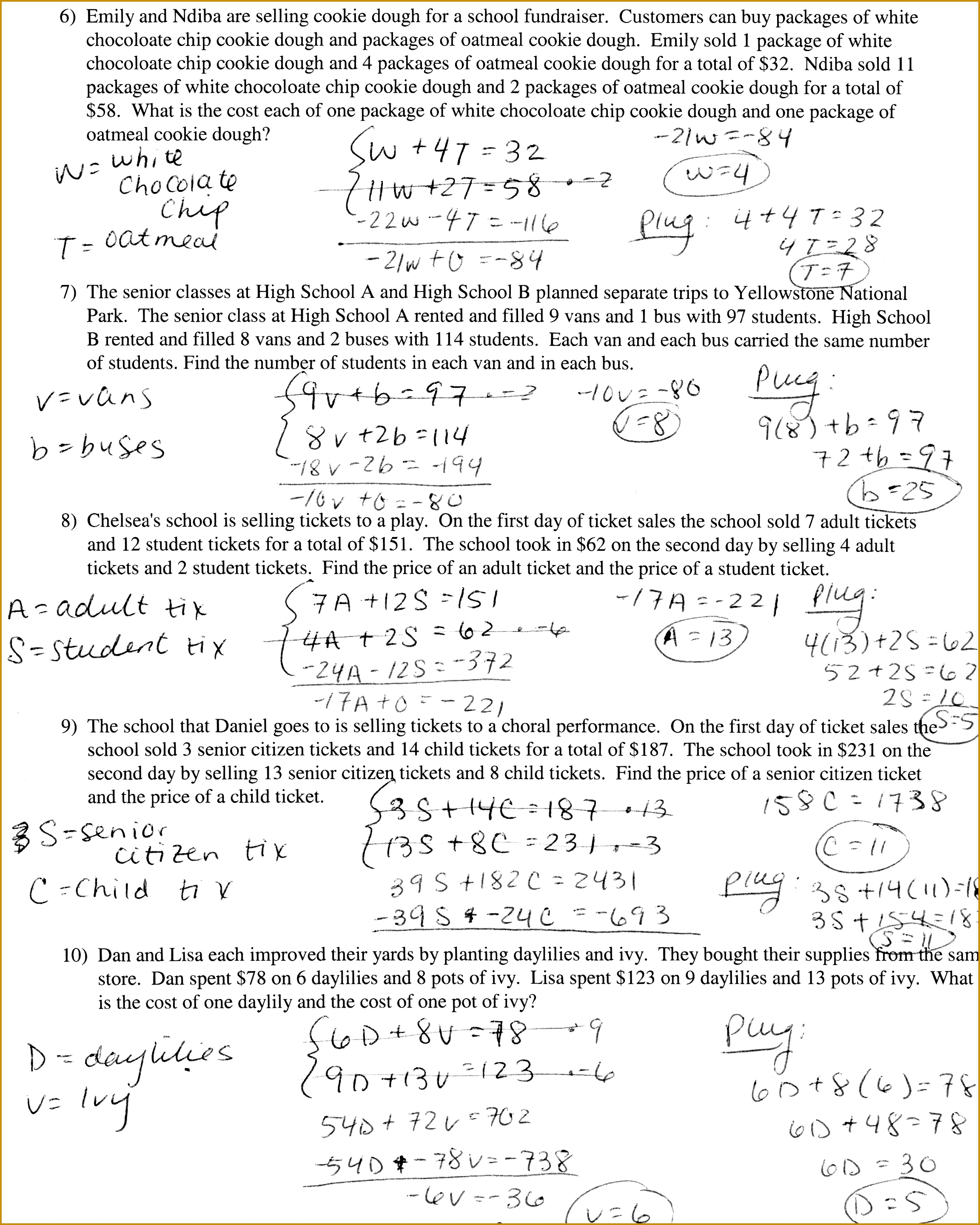 Writing Systems Equations Worksheet Switchconf 28792304