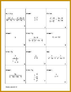 Simplifying Rational Expressions Matching Game 325251
