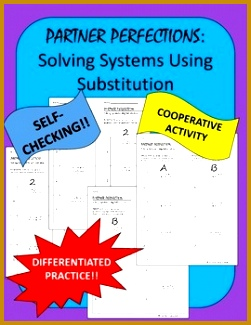 Systems of Equations Substitution Partner Perfection This is a set of worksheets that contains 325251