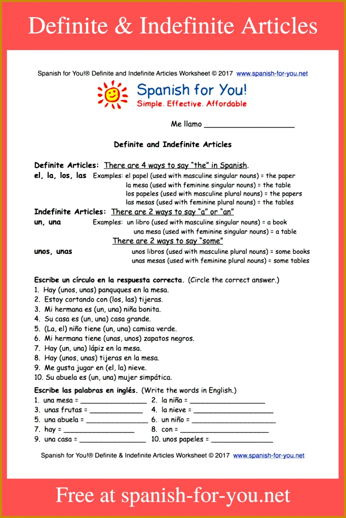 Free Spanish worksheet on definite and indefinite articles Great review or to help introduce the concepts Makes teaching easy like all our materials 1024683