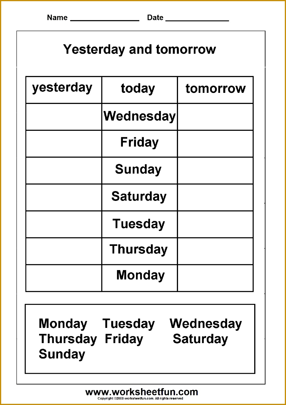 Days of the Week – Yesterday and Tomorrow – 6 Worksheets FREE Printable Worksheets 1387980