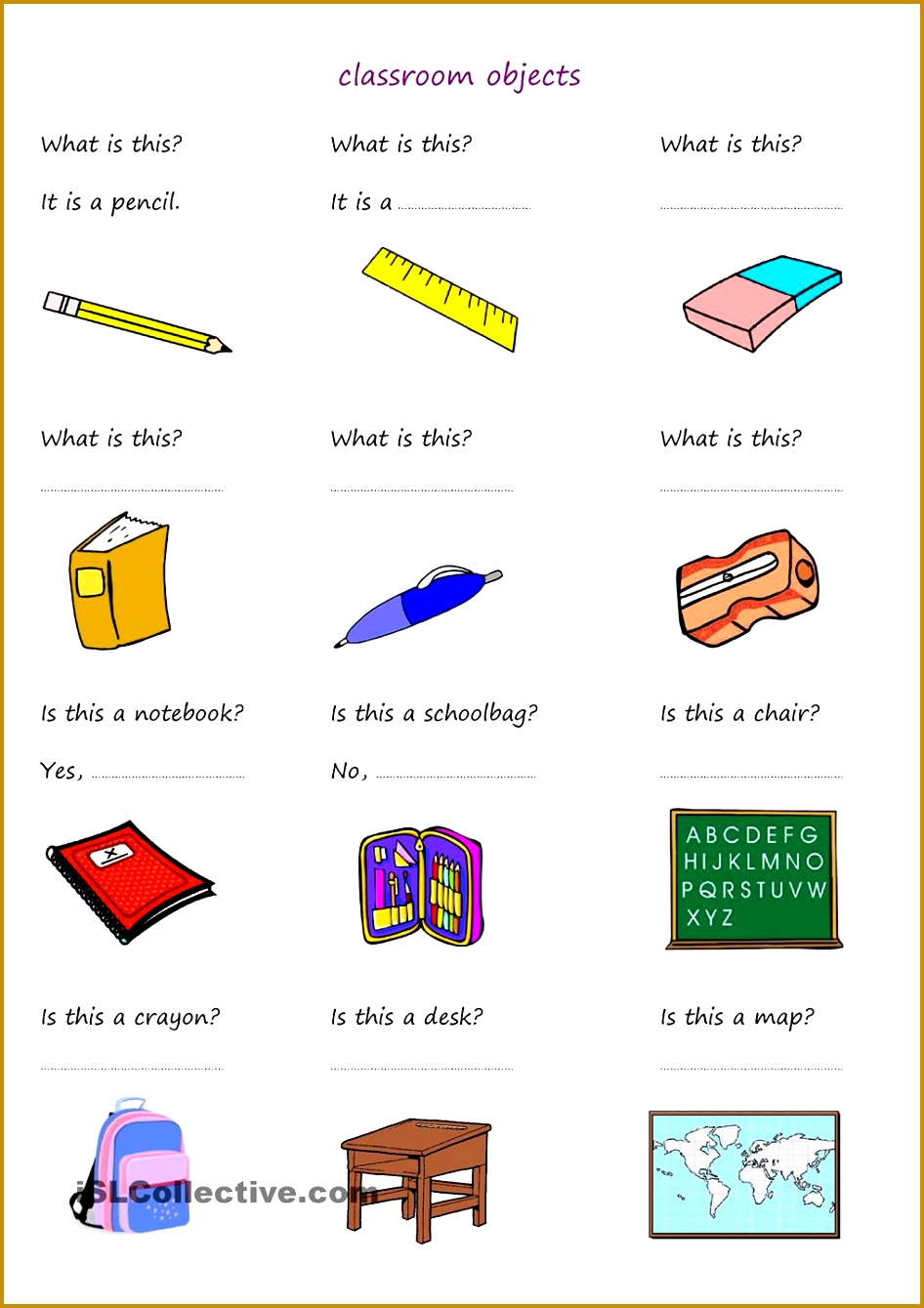 students answer questions about classroom objects ESL worksheets 1339946