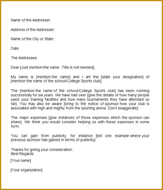 Sponsorship Letter Template 651558