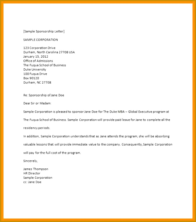 sample of sponsorship letter to a university Sponsorship Letter Template 25 763672