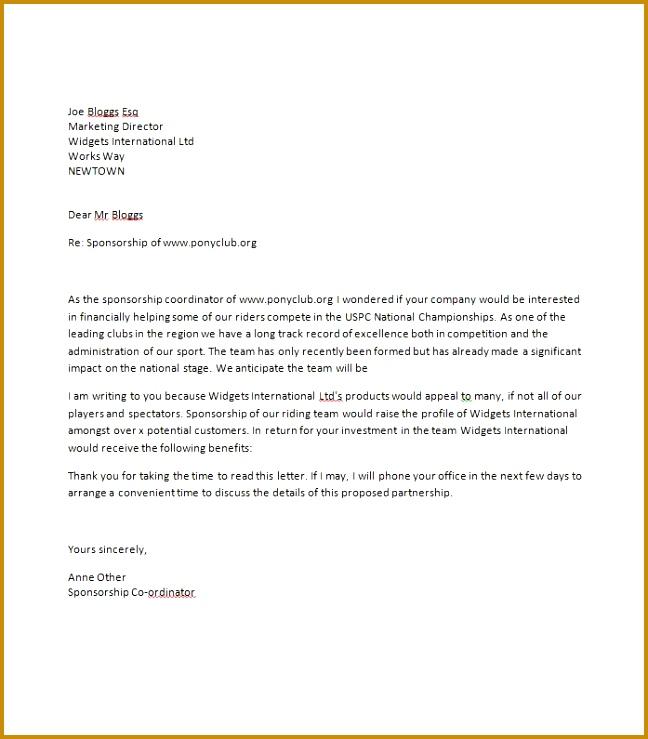 Printable Sponsorship Letter Template 18 648739