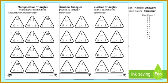 Multiplication Triangles 2 to 12 Times Tables Worksheet Activity Sheet English Romanian worksheet 292585