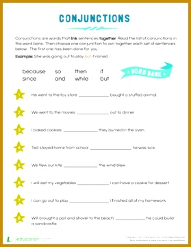 Step 1 Aa Worksheet 12893 Conjunction Examples for Kids