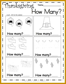 Count the Thanksgiving pictures and write the number 1 to 6 Students count 278219