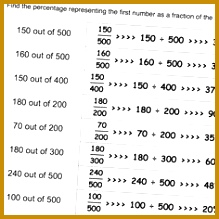 Printable math worksheets where given two numbers determine what percentage one is of the other 219219