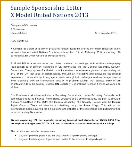 Model Sponsorship Letter Template 604544