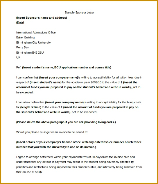 Sample pany Sponsorship Letter For Student Word Format Download 544632