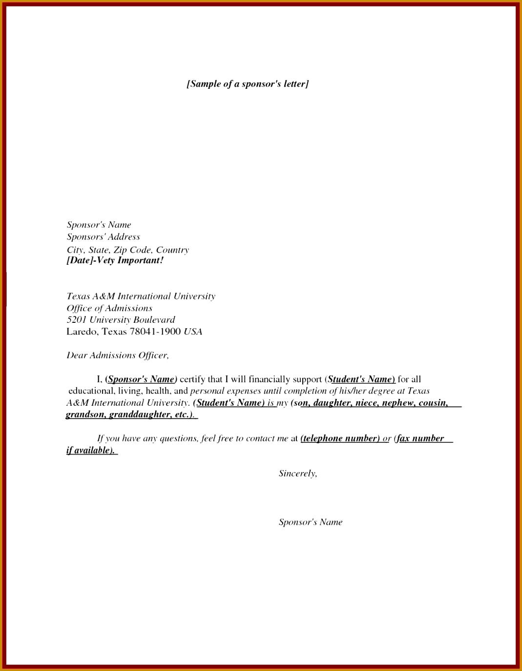 11 sponsor letter sample for student 13761069