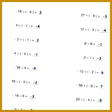 Worksheets with simple problems that introduce negative numbers operations for multiplication and division math facts 219219