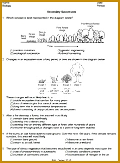 This worksheet has 32 Living Environment Regents questions about secondary ecological succession The worksheet includes 325239