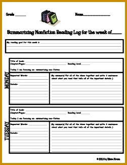 Reading Log for Summarizing nonFiction Use for reader s workshop guided reading shared reading 325251